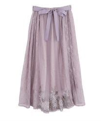 Lily Pattern Tulle Skirt(Lavender-Free)