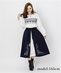 Snow embroidery skirt(Navy-Free)