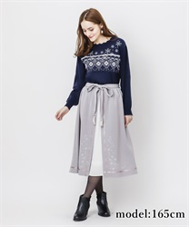 Snow embroidery skirt