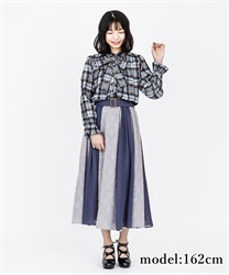 Shaggy check skirt(Blue-Free)