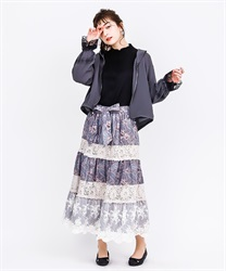 【MAX70%OFF】Paisley x Flower Print Long Skirt(Beige-Free)