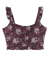 【axes femme yoga】Quick Dry Flower Patterned Built-In Bra Top