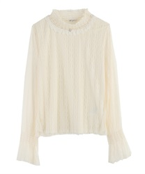 Short Turtleneck Lacey Pullover(Ecru-Free)