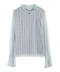 Short Turtleneck Lacey Pullover(Saxe blue-Free)