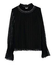 Short Turtleneck Lacey Pullover