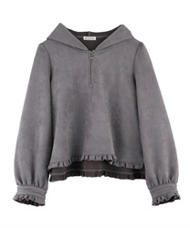 Center Zip Frill Hoodie(Grey-Free)