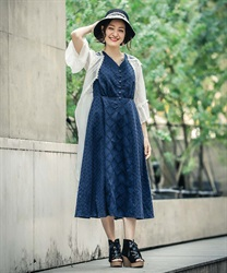 Lace Patchwork Dress(Navy-Free)
