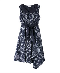 Flower Panel Sleeveless Dress(Navy-Free)