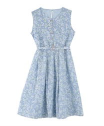 Flower Stripe Lace Dress(Saxe blue-Free)