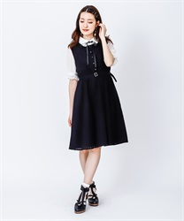 Flower Stripe Lace Dress(Black-Free)