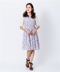 Flower Stripe Lace Dress(Lavender-Free)