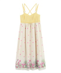 Long dress with tulip pattern(Yellow-Free)