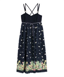 Long dress with tulip pattern(Navy-Free)