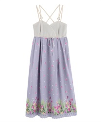 Long dress with tulip pattern(Lavender-Free)