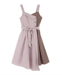 Bicolored  asymmetry  dress(Pale pink-Free)