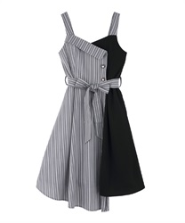 Bicolored  asymmetry  dress(Grey-Free)