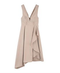 【10%OFF】Raffle frilled ashime one-piece(Brown-Free)