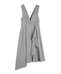 【10%OFF】Raffle frilled ashime one-piece(Grey-Free)