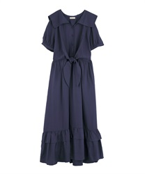Vintage Sailor Dress(Navy-Free)