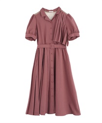 【2Buy20%OFF】Trench Pleated Shirt Dress(DarkPink-Free)