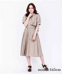 【2Buy20%OFF】Trench Pleated Shirt Dress(Beige-Free)