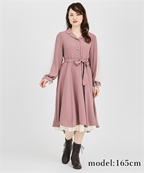Tulle sleeve shirt one-piece(DarkPink-Free)