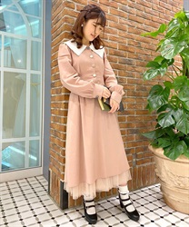 【Uniform price】Waist Dart Slim Look Dress with Variate Button Decoration(DarkPink-Free)