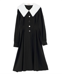 【Uniform price】Waist Dart Slim Look Dress with Variate Button Decoration(Black-Free)