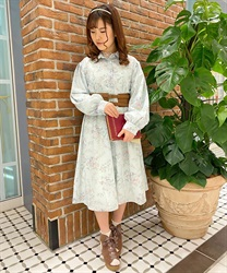 【Uniform price】Vintage floral dress(Green-Free)