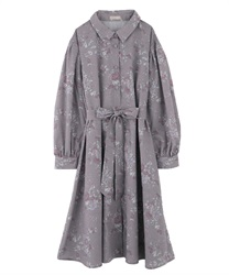 【Uniform price】Vintage floral dress(Mocha-Free)