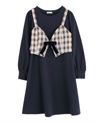 Cut dress with bustier(Navy-Free)