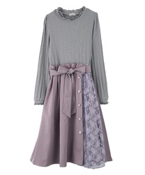 Continuous Button Docking Dress(Lavender-Free)