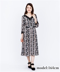 Lily Pattern Long Dress(Black-Free)