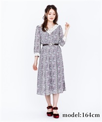 Lily Pattern Long Dress(Lavender-Free)