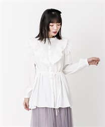 Frilled shirt tunic(Ecru-Free)