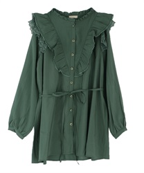 Frilled shirt tunic(Green-Free)