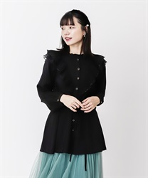 Frilled shirt tunic(Black-Free)
