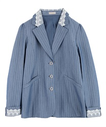 Back pleated jacket(Saxe blue-Free)