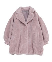 Boa long cocoon coat(Pale pink-Free)