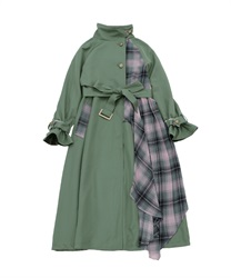 Bicolor ashime long coat(Green-Free)