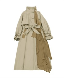 Bicolor ashime long coat(Beige-Free)
