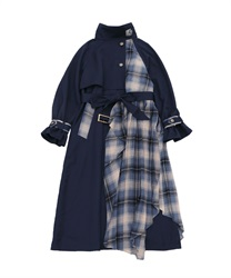 Bicolor ashime long coat(Navy-Free)
