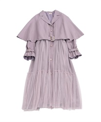 Cape tulle trench coat(Pale pink-Free)