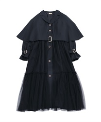 Cape tulle trench coat(Black-Free)