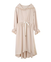 Long coat with hood(Beige-Free)