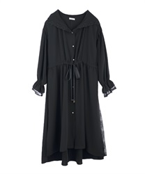 Long coat with hood(Black-Free)