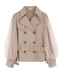Short trench coat with tulle(Beige-Free)
