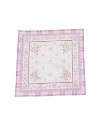 Checkered Rose-Printed Handkerchief(Lavender-M)