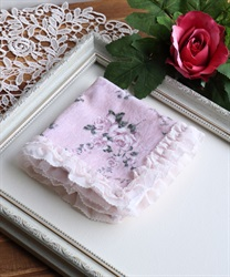 Handkerchief with frilled(Pale pink-M)