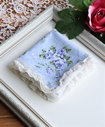 Handkerchief with frilled(Saxe blue-M)